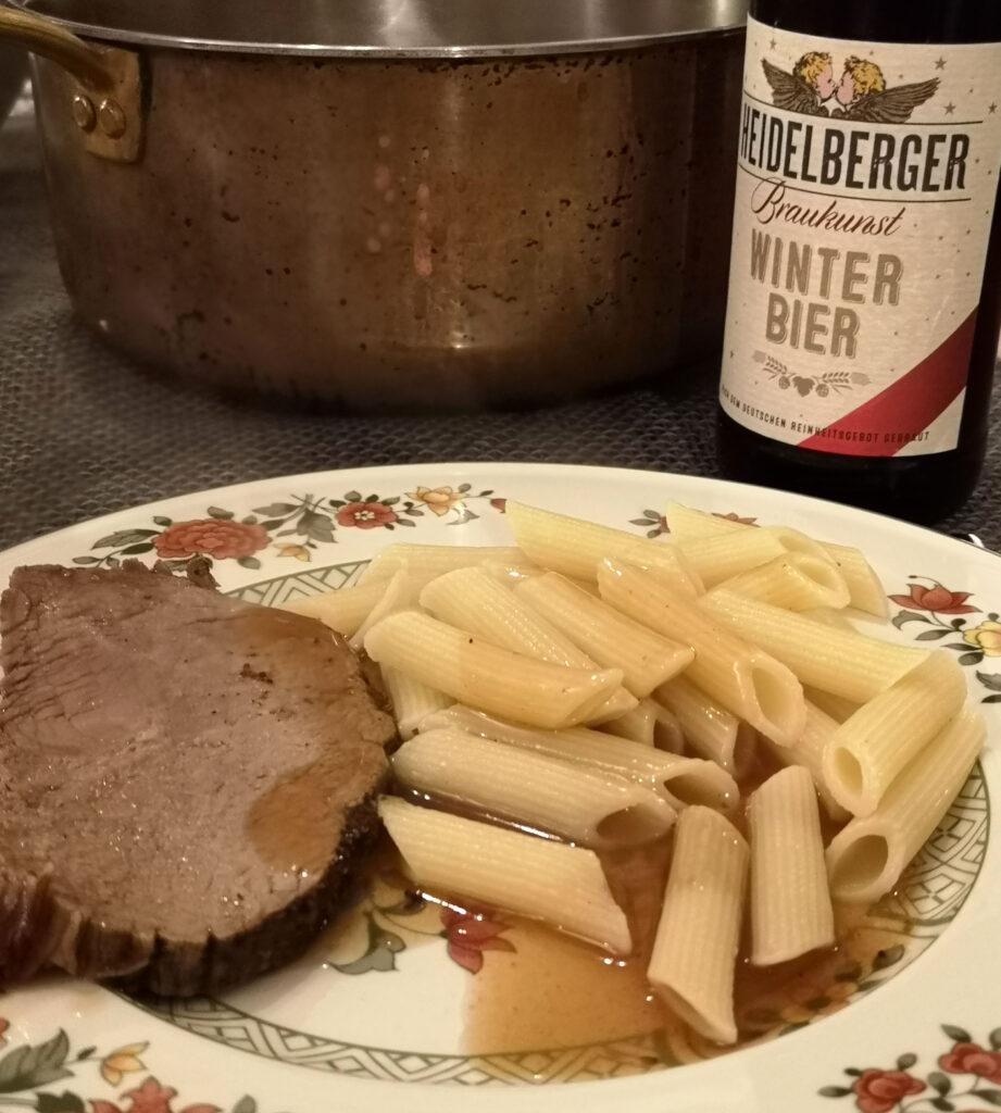 Kalbsbraten aus der Hüfte mit Winterbier der Heidelberger Brauerei